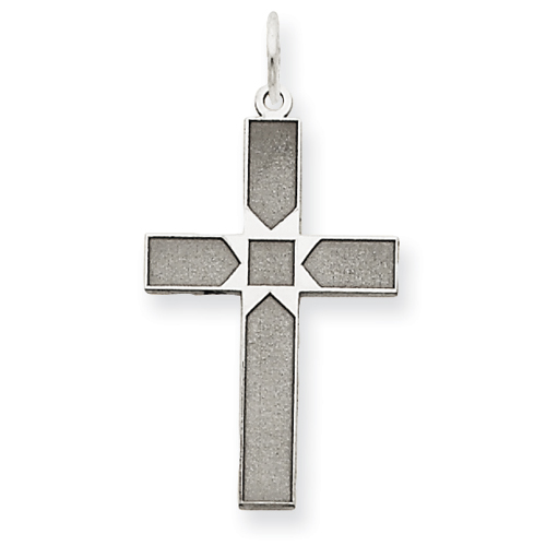 14kt White Gold 3/4in Laser Designed Cross Pendant with Square