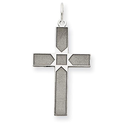 14kt White Gold 3/4in Laser Designed Cross Pendant
