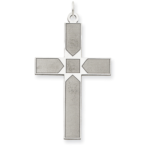 14kt White Gold 1 9/32in Laser Designed Cross Pendant