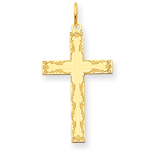 14kt 13/16in Laser Designed Cross Pendant