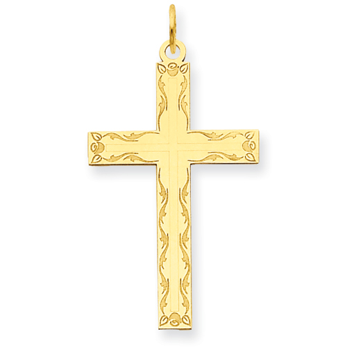 14k Yellow Gold Laser Etched Floral Border Cross Pendant 1in