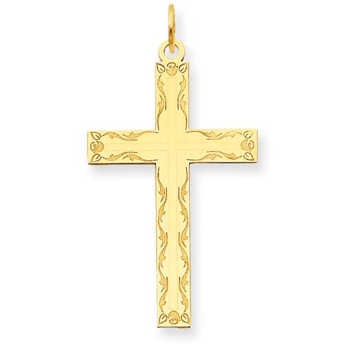 14kt 1in Laser Designed Cross Pendant