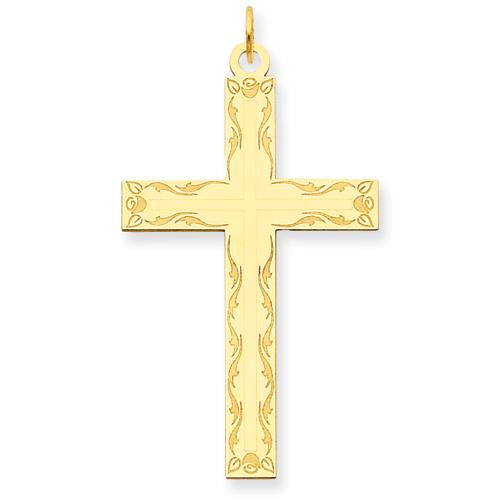 14kt 1 1/4in Laser Designed Cross Pendant