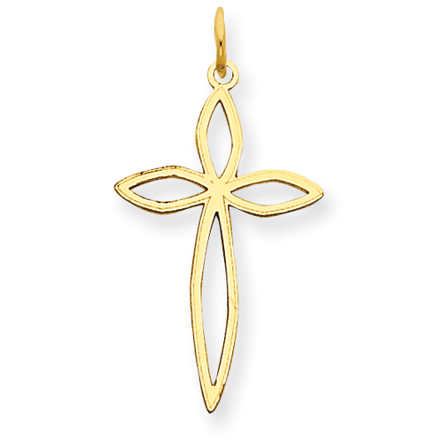 14kt Yellow Gold 13/16in Cut-Out Passion Cross