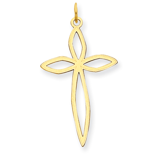 14kt Yellow Gold 1in Cut-Out Passion Cross