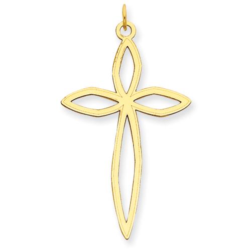 14kt 1 9/32in Laser Designed Cross Pendant