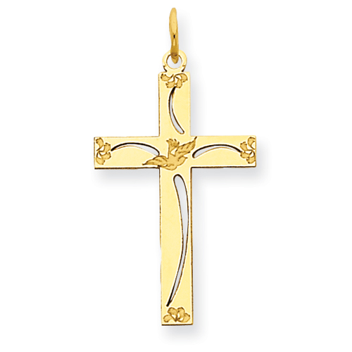 14k Yellow Gold 3/4in Laser Etched Flower Cut-out Cross
