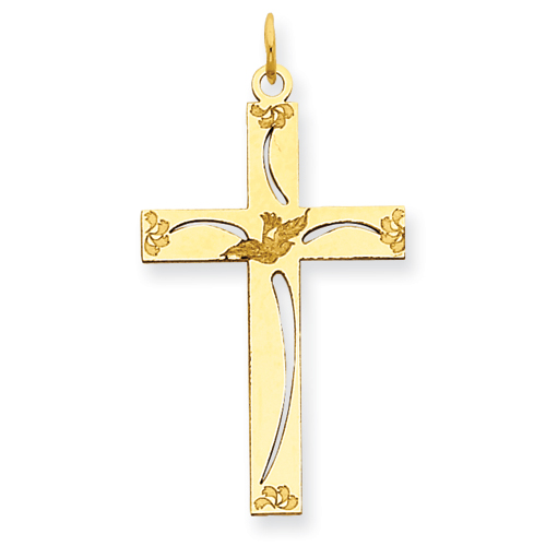 14k Yellow Gold 1in Laser Etched Flower Cut-out Cross