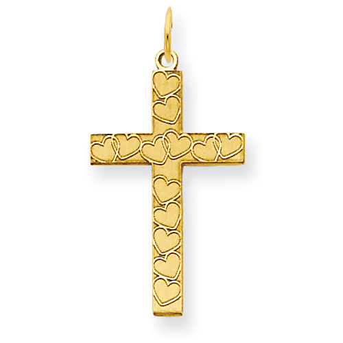 Cross Pendant with Hearts 5/8in 14k Yellow Gold