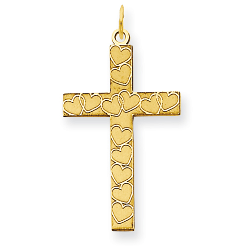 14kt Yellow Gold 3/4in Cross Pendant with Hearts