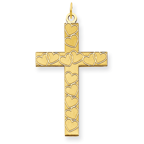 14kt Yellow Gold 1in Cross Pendant with Hearts