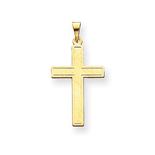 14kt Yellow Gold 7/8in Polished Stamped Cross Pendant