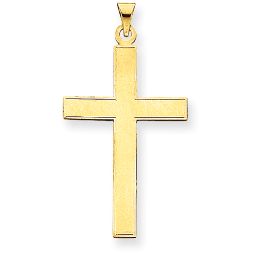 14kt 1 1/2in Polished Cross Pendant