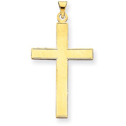 14kt 1 1/2in Polished Cross Pendant