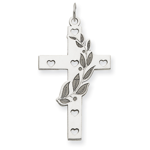 14kt White Gold 1in Laser Designed Cross Pendant