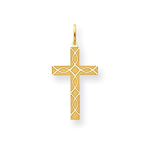 14k Yellow Gold Laser Designed Cross Charm Icthus Fish Design 3/4in