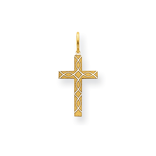 14kt 5/8in Laser Designed Cross Charm