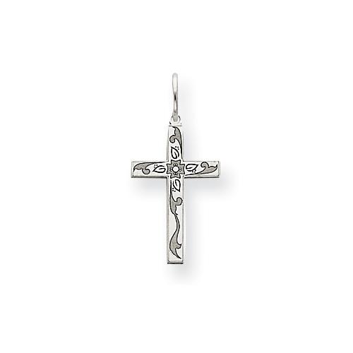 14kt White Gold 5/8in Laser Designed Cross Charm