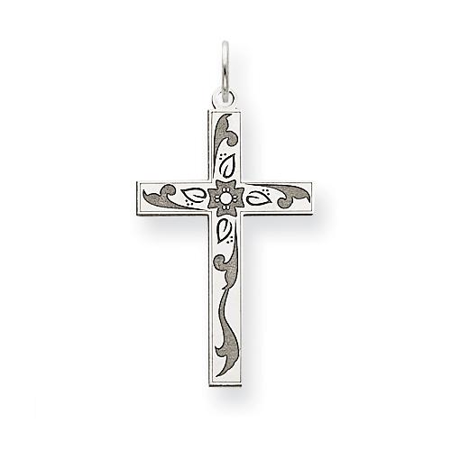 14kt White Gold 1in Laser Designed Cross Pendant