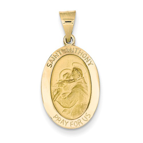 14kt Yellow Gold 3/4in Oval Hollow St Anthony Medal