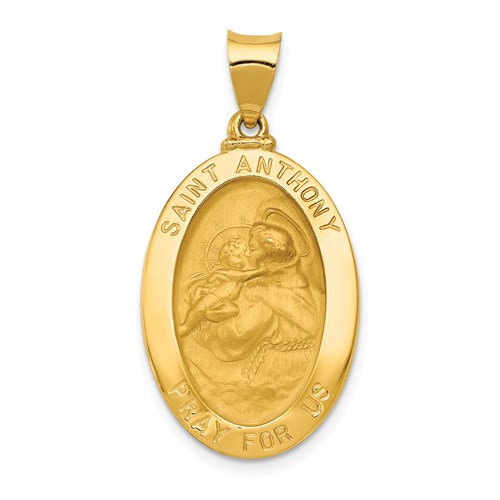 14kt Yellow Gold 1in Oval Hollow St Anthony Medal
