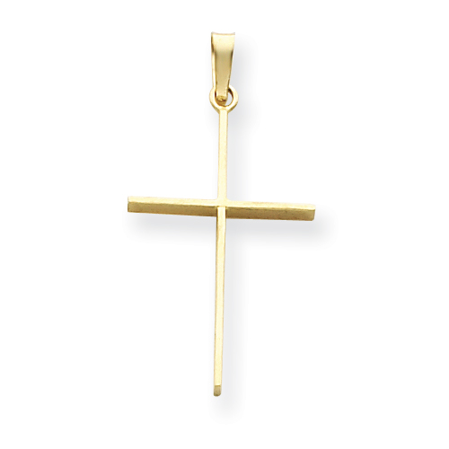 14k Yellow Gold Very Slender Cross Pendant 1in