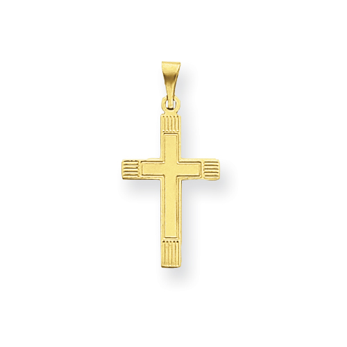 14k Yellow Gold Cross Pendant with Lined Tips 3/4in