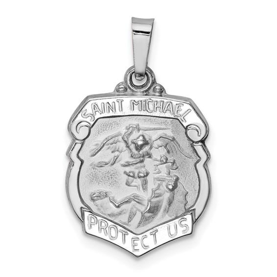 14kt White Gold Petite Hollow St Michael Shield Pendant