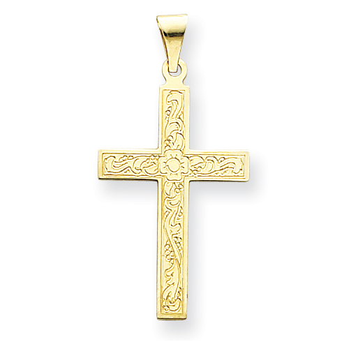 14k Yellow Gold Floral Cross Pendant 1 1/8in