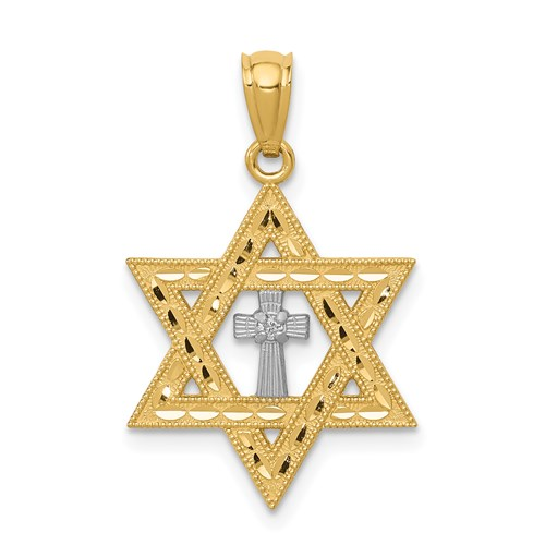 14kt Yellow Gold Rhodium 5/8in Star of David with Cross Pendant