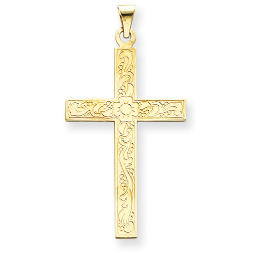 14kt Yellow Gold 1 1/2in Floral Cross