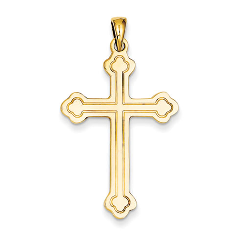 14kt Yellow Gold 1 1/4in Budded Cross with Stamped Outline