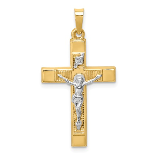 14k Two-tone Gold Hollow Textured INRI Crucifix Latin Cross 1in