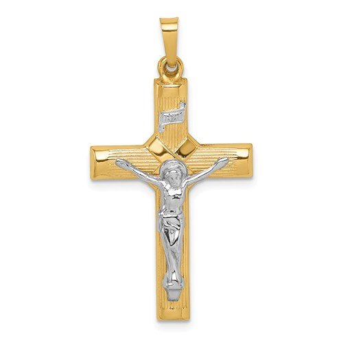 14k Two-tone Gold Hollow Polished Wrapped Center Crucifix 1in