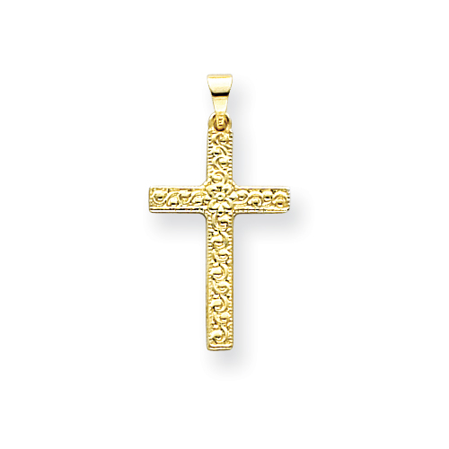 14kt Yellow Gold 7/8in Floral Cross