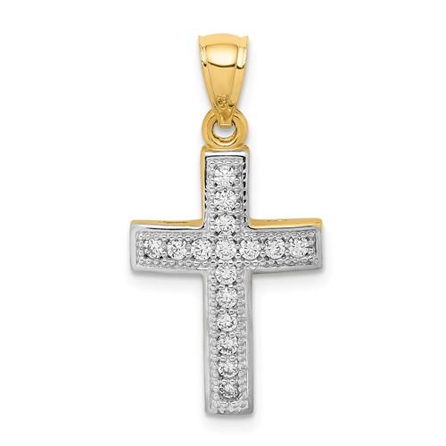 14k Yellow Gold and Rhodium CZ Cross Pendant 3/4in