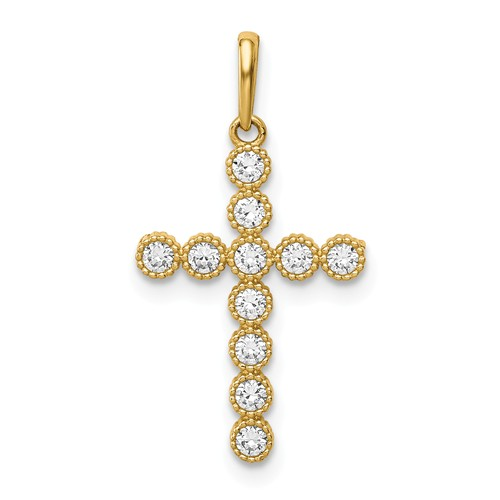 14k Yellow Gold CZ Cross Pendant with Beaded Texture 5/8in