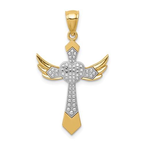 14K Yellow Gold Rhodium Angel Wing Heart Cross Pendant 1in