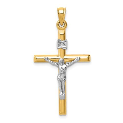 14k Two-tone Gold Tube INRI Crucifix Pendant 1.25in