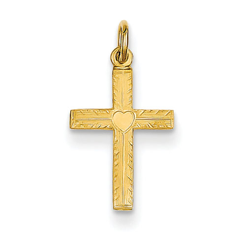 14kt Yellow Gold 1/2in Heart Cross Charm