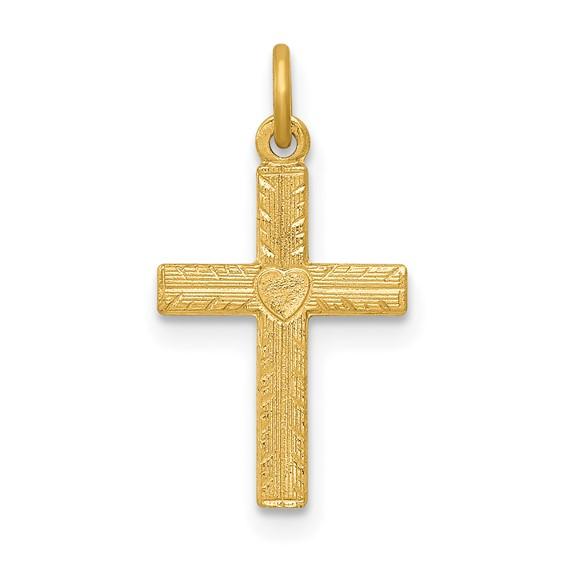 14kt Yellow Gold 1/2in Heart Cross Charm
