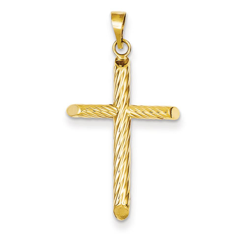 14kt 1in Hollow Ribbed Cross