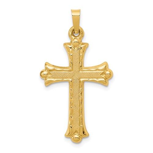 14kt Yellow Gold 1in Hollow Textured Fleur de lis Cross