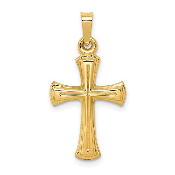 14kt 3/4in Hollow Cross Pendant