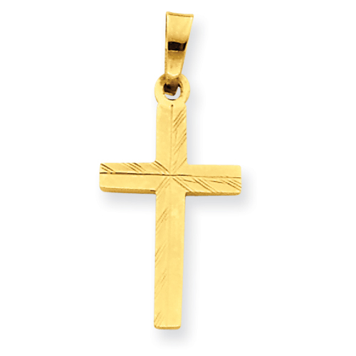 14k Yellow Gold Diamond-cut Small Hollow Cross Pendant