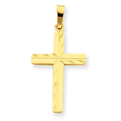14kt 13/16in Diamond-cut Hollow Cross Pendant