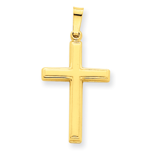 14kt Yellow Gold 3/4in Hollow Outline Cross
