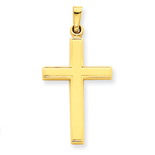14k Yellow Gold Hollow Latin Cross Pendant 15/16in