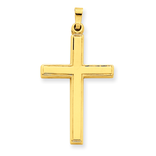 14kt Yellow Gold 1 1/8in Hollow Outline Cross