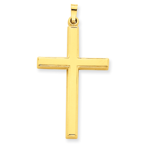 14kt Yellow Gold 1 3/8in Hollow Outline Cross